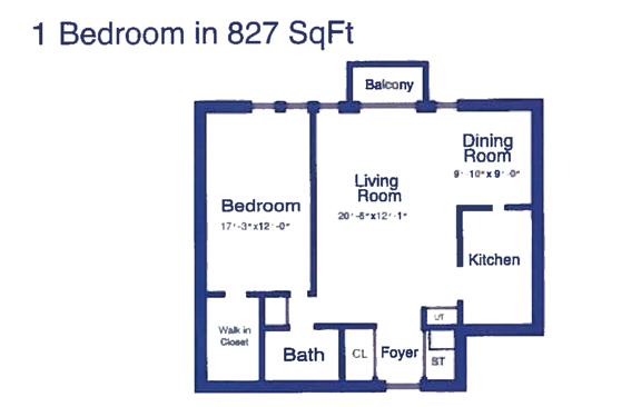 One Bedroom - 827 sq ft